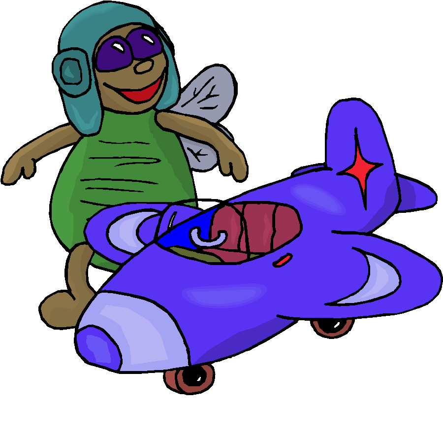 Bee with Aeroplane Free Clipart