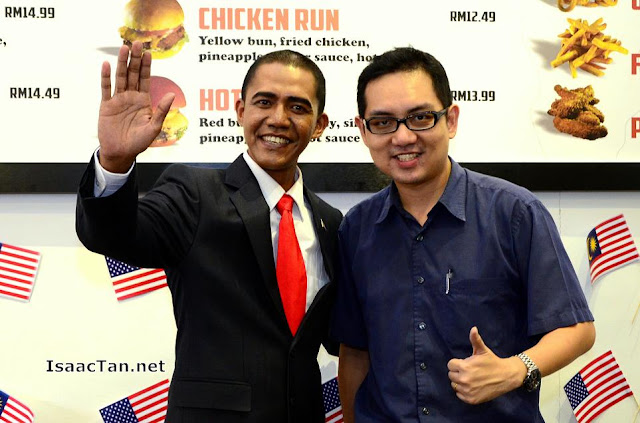 "Yours truly with ""Mr President"""