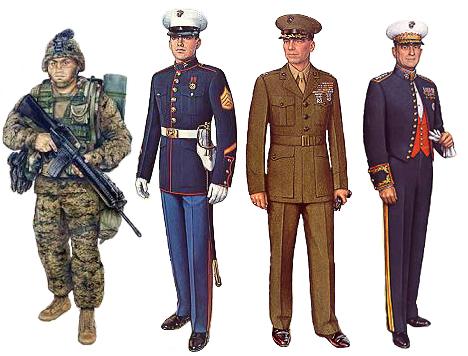 Diferentes tipos de uniformes militares de la US Marine Corps
