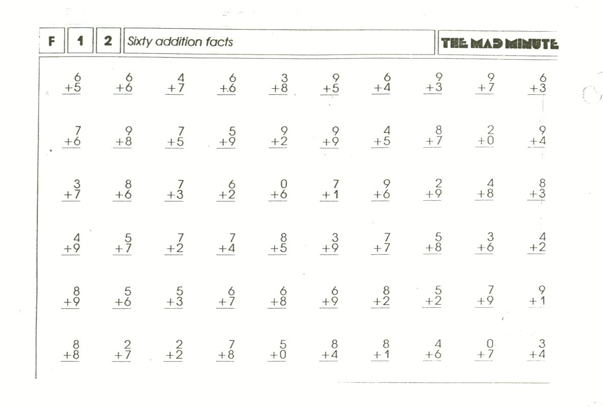 Mad Minute Addition Worksheets – Minute Maths Worksheets