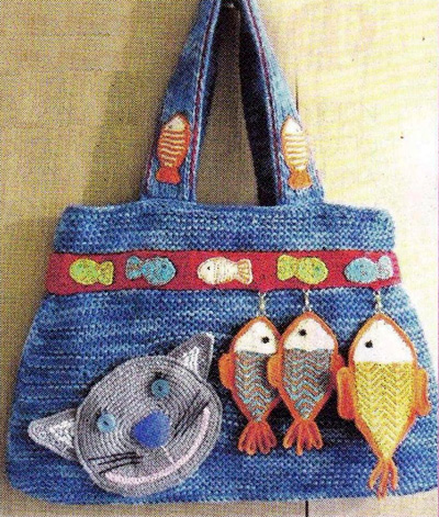 вязаная сумка. Bag with fish - knitting