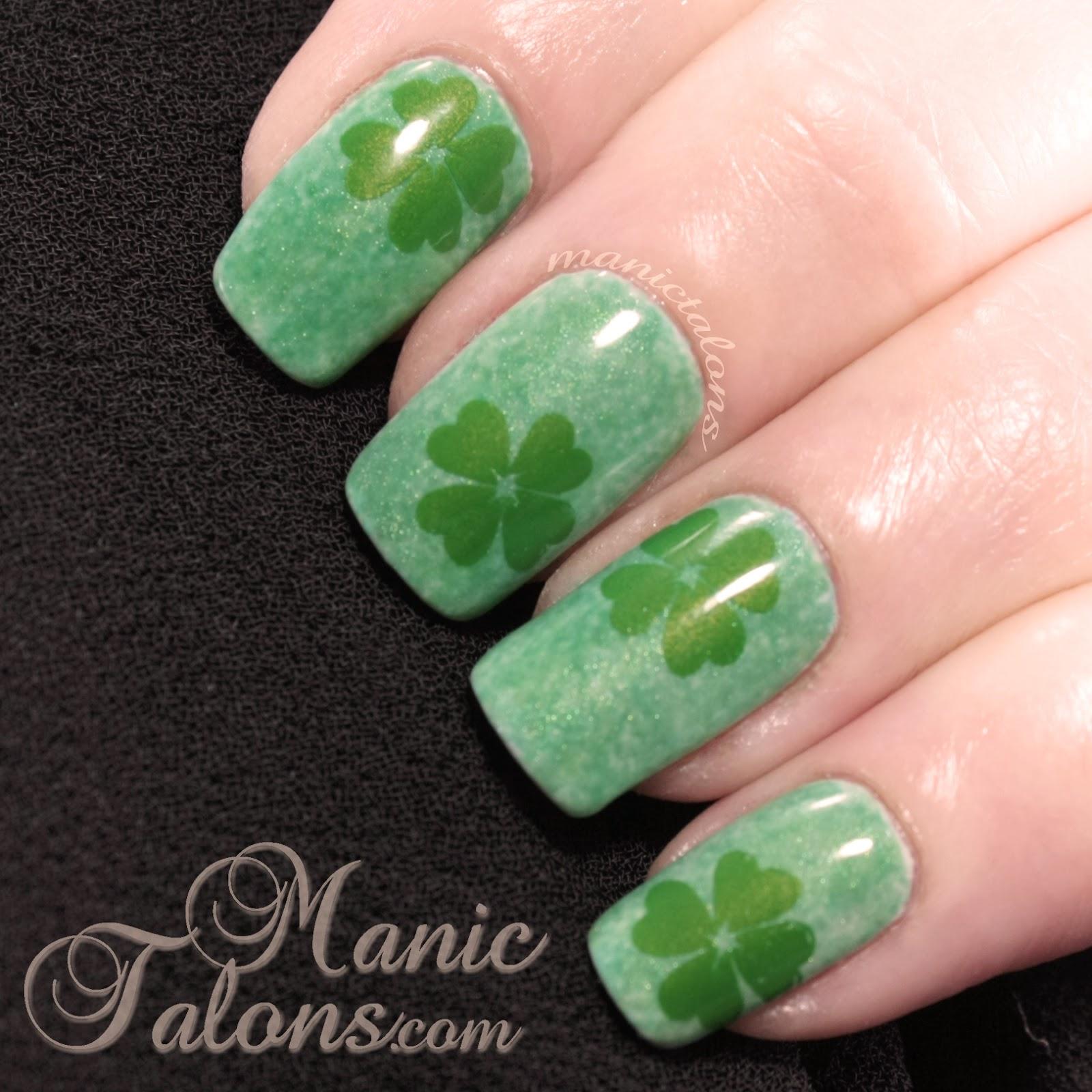 St. Patrick's Day Shamrock Gel Polish Manicure