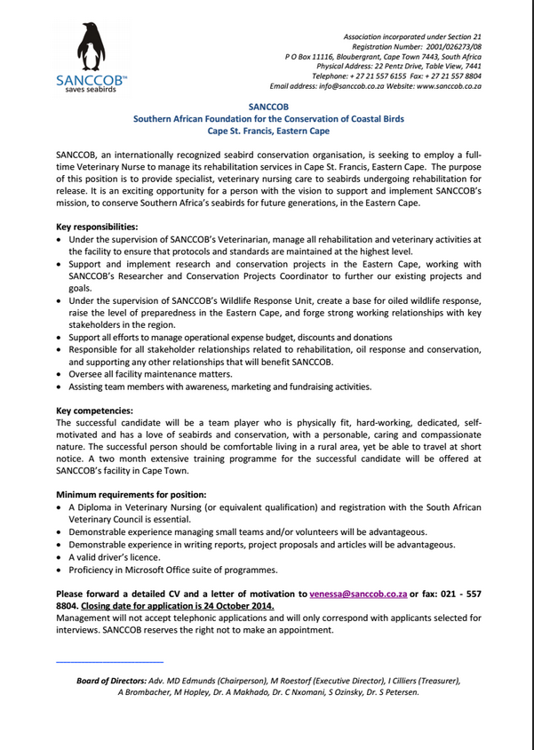 cover letter for student veterinary nurse Interested in a career as a veterinary nurse we're unable to give specific advice, but recommend you read a quicklook at vets, an excellent book by vetsurgeonorg.