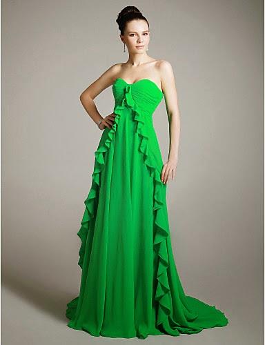 Vestido de Noche de Gasa Verde