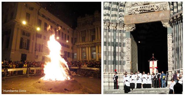 Fogueira e procissão no São João em Genova