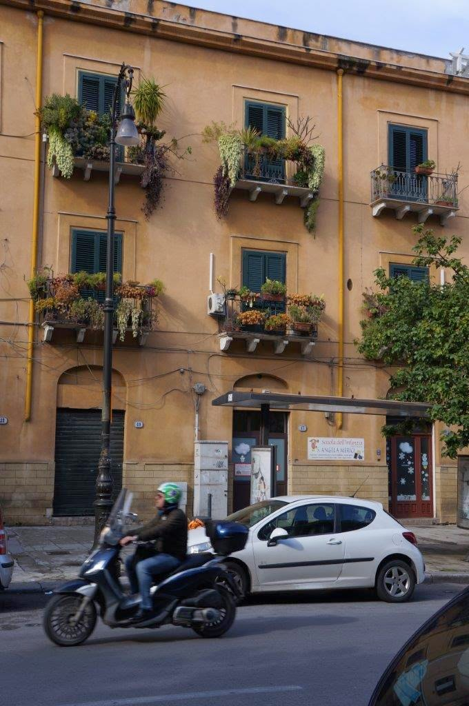 Typical building in Palermo Sicily Italy.