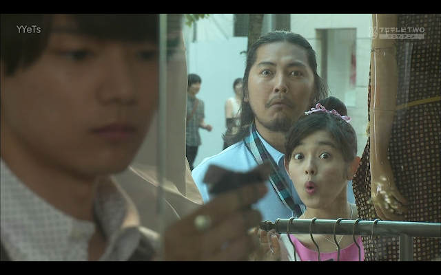 The shocked faces of Sudo Senpai and Kotoko as they spy on Naoki