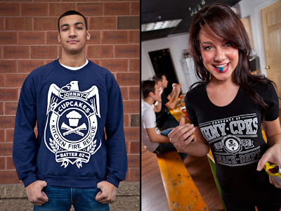 "Johnny Cupcakes Snack Time Collection - ""Kitchen Fire Rescue"" Crewneck & ""Snack Dept."" T-Shirt"