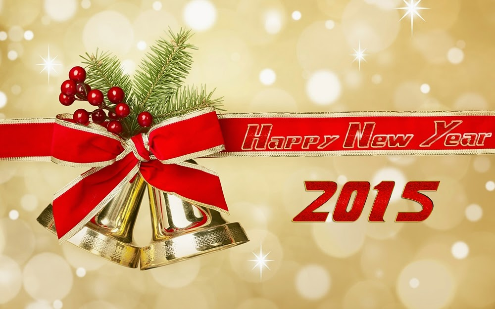 Christmas Ribbon Strap Happy New Years Wishes Wallpapers 2015