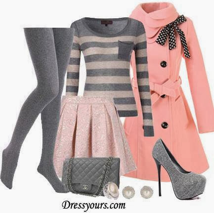 Grey leggings, sweater, pink trench coat, skirt, handbag and grey high heel sandals