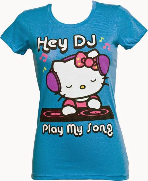 Gambar Baju Hello Kitty Kaos Warna Biru Lucu