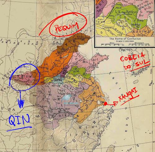 Mapa indicando a província de Qin (ou Ch'in), no Período das Primaveras e Outonos da China Antiga