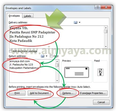 Gambar: Mengisi alamat pada amplop dan mencetak/menambahkan lembar amplop ke dalam dokumen di microsoft word 2010