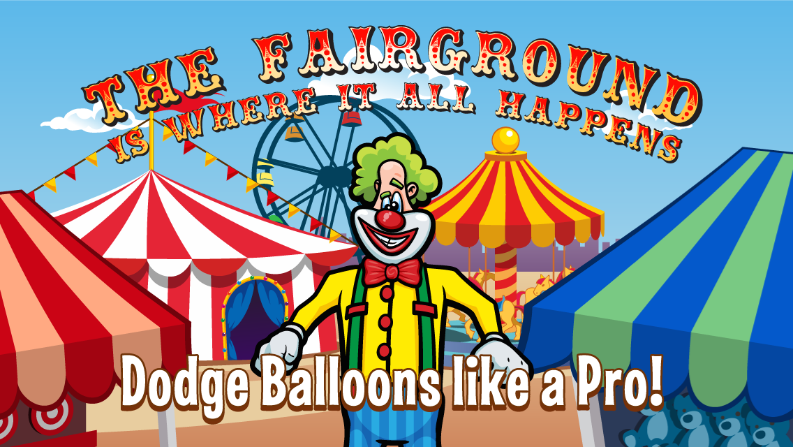 Laugh Clown Professional Balloon Dodger iPhone 5 Promo Art: 'The Fairground is where it all happens!'
