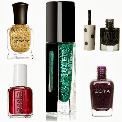 gold glitter nail polish, red glitter nail polish, green glitter nail polish, purple glitter nail polish