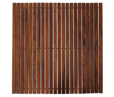 Bare Decor Fuji String Spa Shower Mat in Solid Teak Wood Oiled Finish. XL Square 30 inch x 30 inch