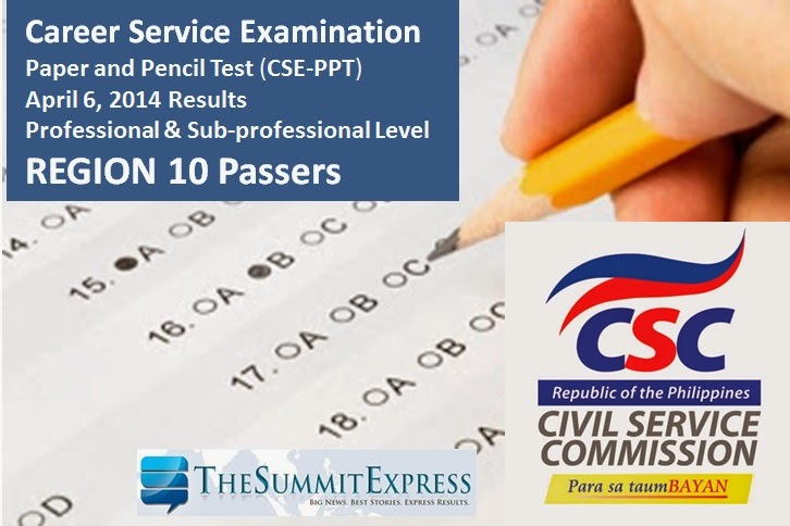 April 2014 Civil Service Exam Results Region 10 Passers