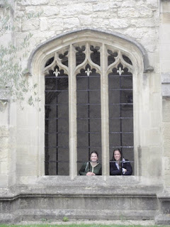 Window at Cloisters inside Christ Church College at Oxford University