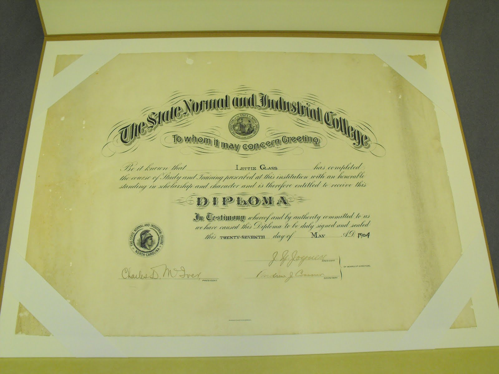 Special Collections And University Archives Sent This Vellum Diploma Down To Preservation Services For Treatment It Was Rolled Up Had Insect Damage