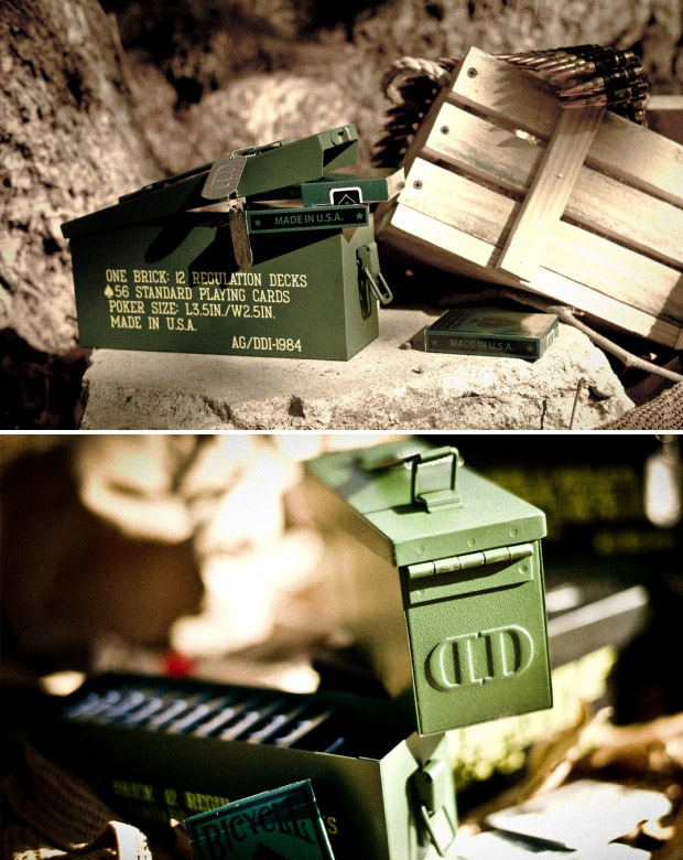 Playing Card Canister - If your secret weapon is a stone-cold poker face, keep your ammo in here. Modeled after military-issue ammo boxes, these metal playing card canisters hold up to twelve decks of cards. Playing Card Canister price - $94.95