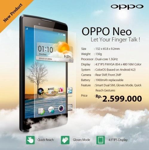 Svelate le prime caratteristiche tecniche/hardware del nuovo smartphone dual sim Oppo Neo