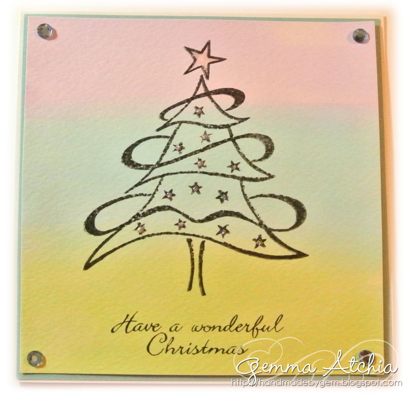 Christmas, Aquatint, Tree, Star, pearls, pastels