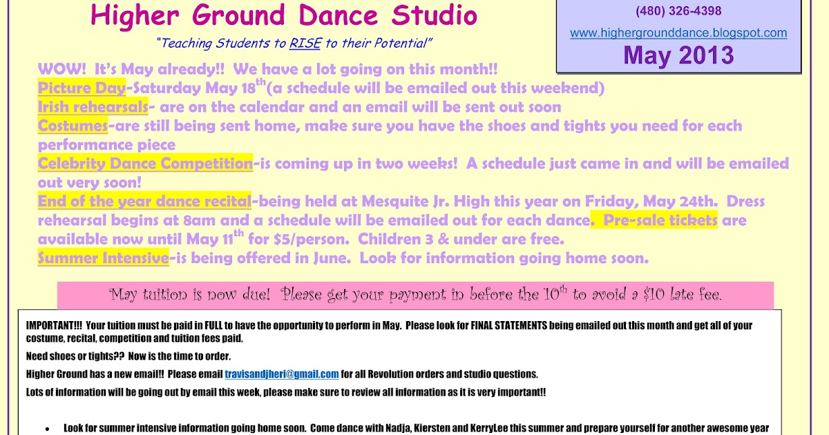 Higher Ground Dance Studio Monthly Newsletters