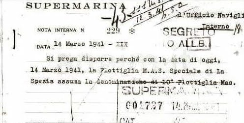 14 MARZO 1941 - NOTA DI SUPER MARINA N° 229