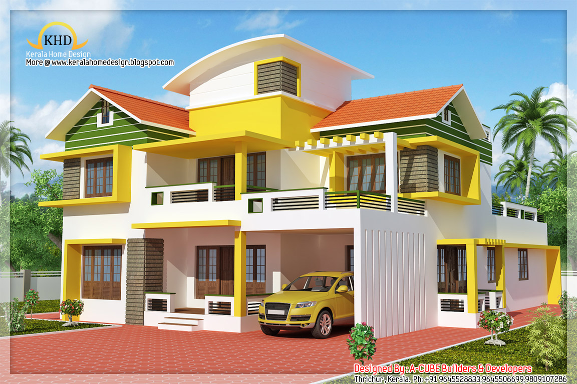 Duplex house elevation 2700 sq ft kerala home design for Duplex house india