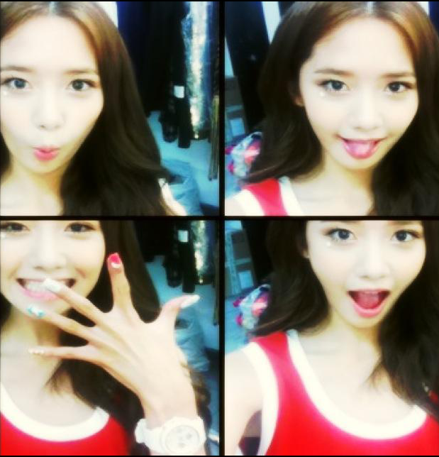 Yoona SNSD Selca Photo with Sexy Red Shirt