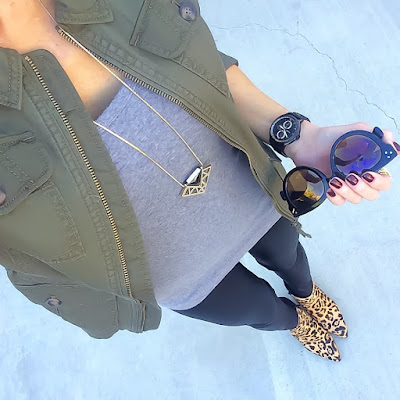 Express Military Jacket, Scuba Leggings, Leopard Booties