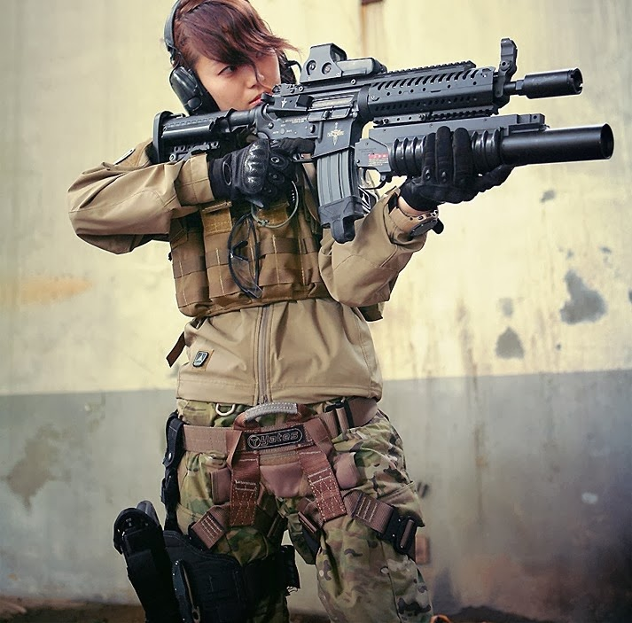 For Japanese girls with airsoft guns shooting theme