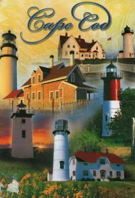 postcard showing lighthouse and other buildings in Cape Cod