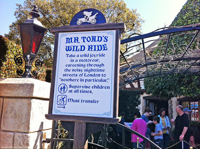 Mr. Toad Toad's WIld Ride sign warning safety spiels Disney