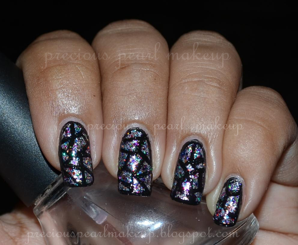 preciouspearlmakeup: Stained Glass Nails with Shimmer Julie