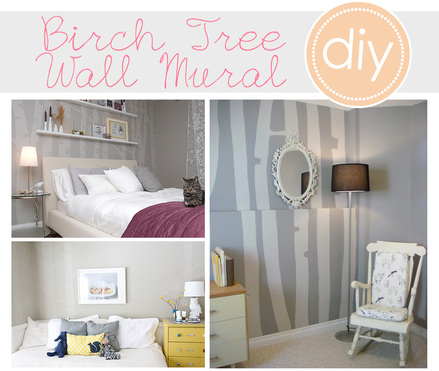 Birch tree mural diy crafts for Diy wall photo mural