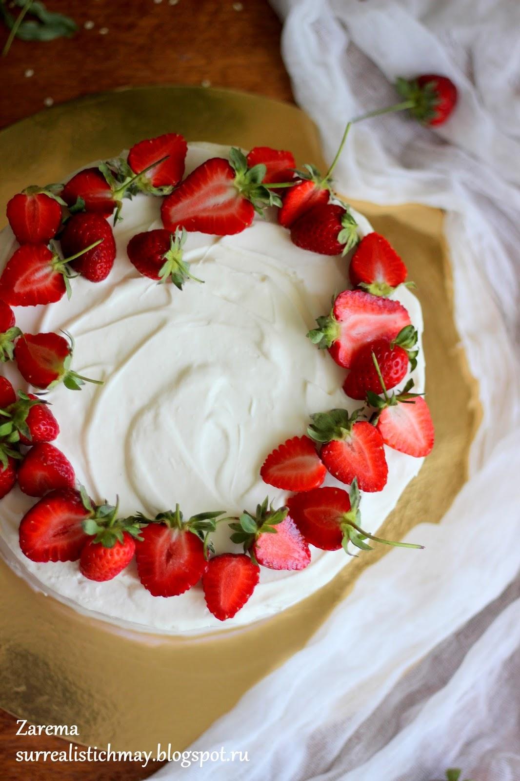 Украшение торт клубникой фото пошагово