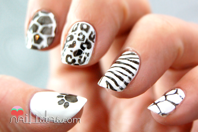 uñas decoradas con animal print mix blanco y negro