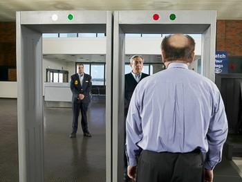 Airport security gay metal detector