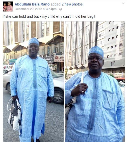 Picture Of Alhaji Carrying Handbag For Lady Goes Viral (Photos)