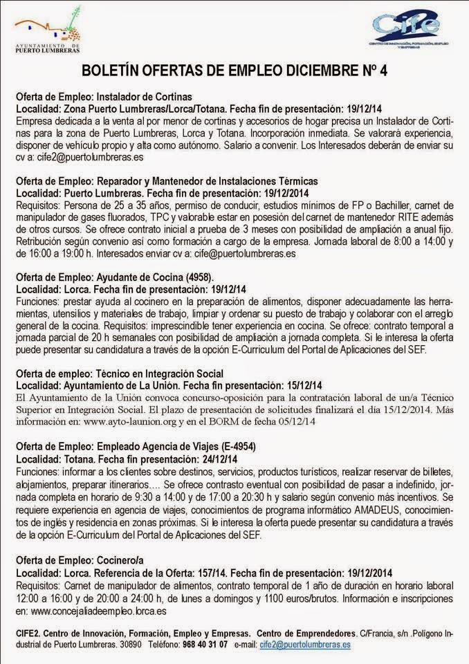Parados de lorca varias ofertas de empleo en puerto lumbreras - Ofertas de trabajo en puerto real ...