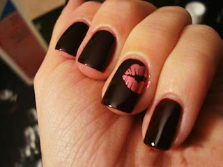 black nail art, black nails