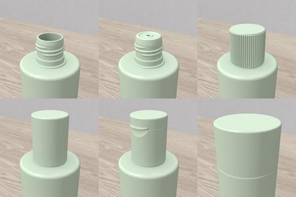プラスチック容器 ボトル キャップ - Plastic container 3D objects