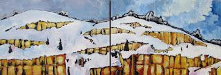 snowy cliffs | colorful landscape | painting