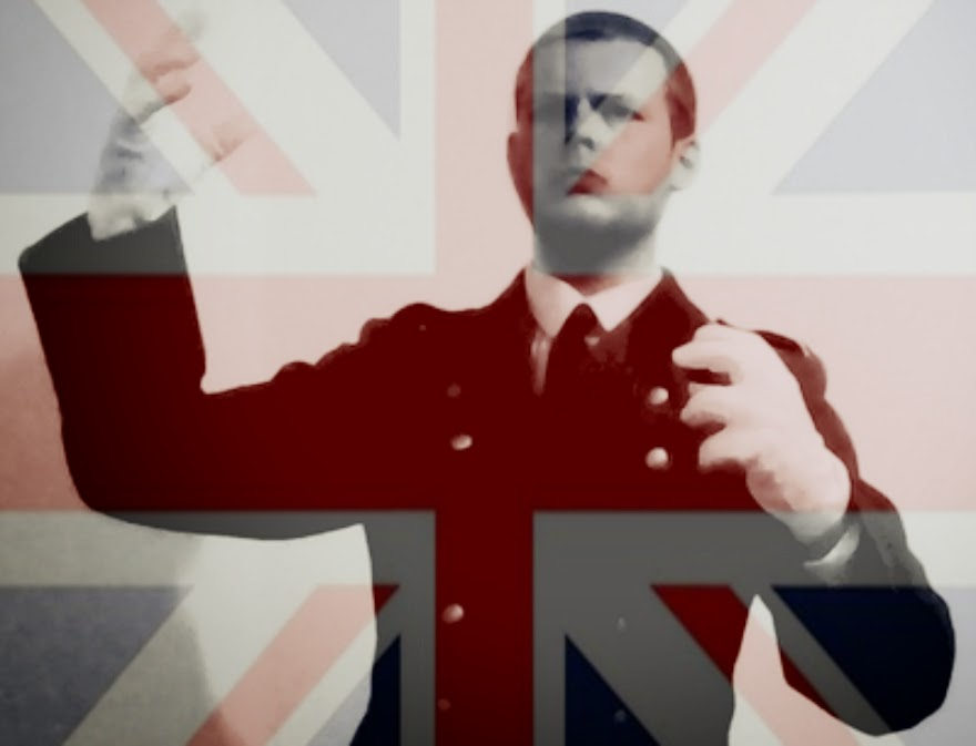 "Yeovil's Neo-Nazi Joshua Bonehill practicing his Fascist ""leader"" look..."