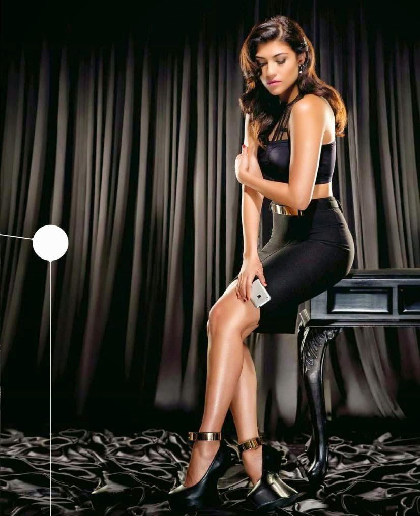 Archana-Vijaya-in-black-tight-skirt-top-in-Stuff-Gadgets-Magazine