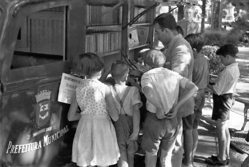 A primeira Biblioteca circulante de São Paulo. Foto: Acervo do Departamento de Patrimônio Histórico da PMSP.