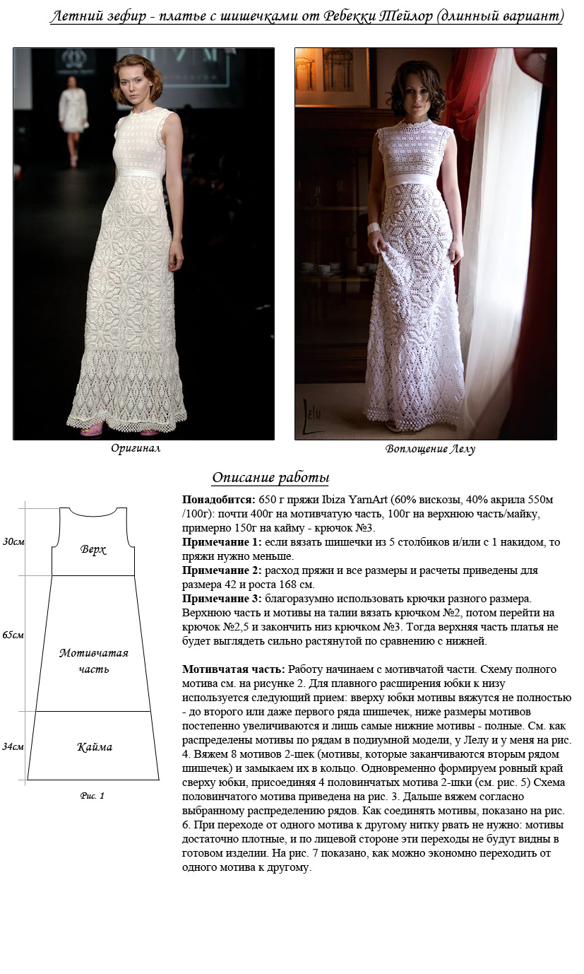 Фото и схемы вязания женских платьев крючком