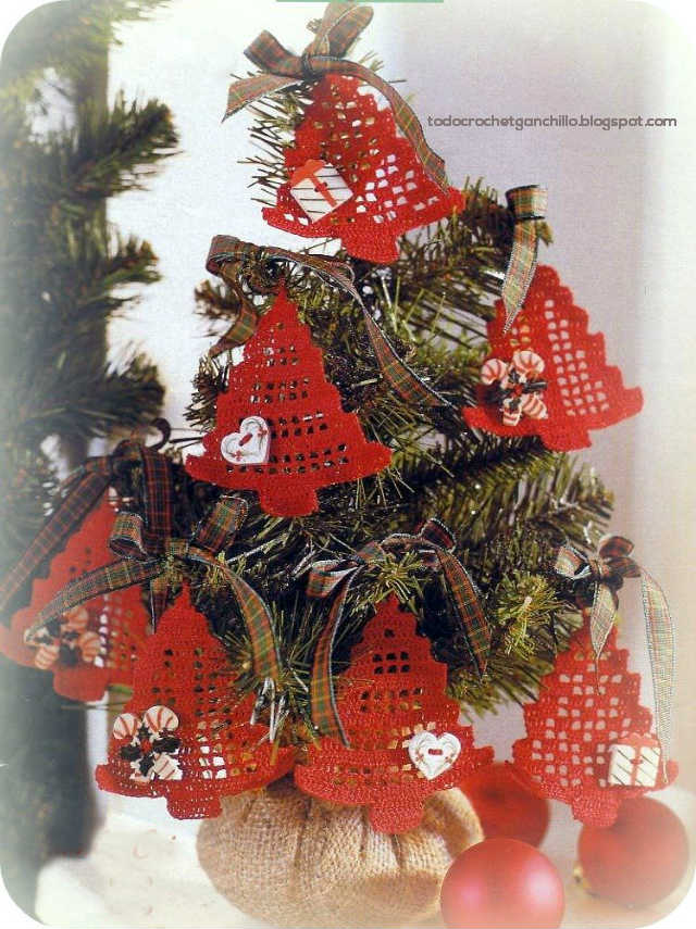 Diagrama crochet filet de pino de navidad para adorno