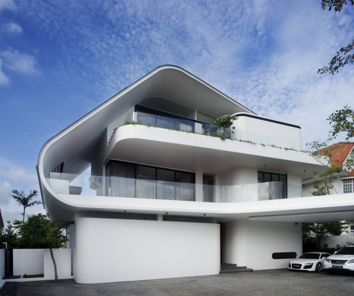 World of architecture modern mansion defined by curves for Cool house wallpaper